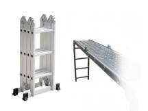 Escalera andamio aluminio 4.4mts 16 escalones + chapones