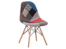 Silla tipo Eames DSW tapizada Patchwork