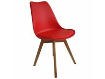 Silla tipo Eames acolchonada rojo