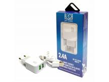 Cargador smart 2 USB 2.4A + cable micro USB