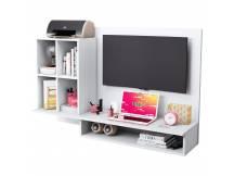 Rack para TV con escritorio blanco