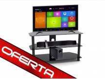 TV 32'' HDsmart + mesa de vidrio + barra de sonido