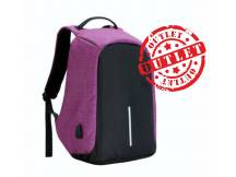 Mochila anti robo 14 colores negro-purpura c/detalles