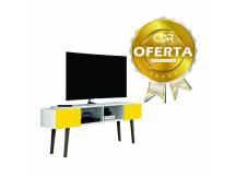 Rack / Aparador para TV con patas blanco con amarillo