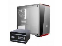 Gabinete Coolermaster MasterBox Lite + fuente MWE 80+ Bronze 550W