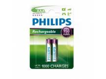 Pilas recargables Philips AAA 950mAh X2