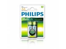 Pilas recargables Philips AA 2450mAh X2
