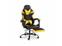 Silla Gamer Lumax ROM negro/amarillo c/posapies